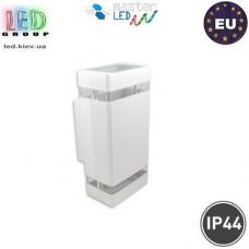 Светильник/корпус master LED,  IP54, фасадный, алюминий + закалённое стекло, квадратный, белый, 2хGU10, Hana. Польша!