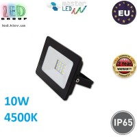 Светодиодный прожектор, master LED, 10W, 12xSMD 2835, 4500K, IP65, накладной, алюминий + закалённое стекло, чёрный, VEGA. ЕВРОПА!