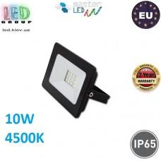 Светодиодный прожектор, master LED, 10W, 12xSMD 2835, 4500K, IP65, накладной, алюминий + закалённое стекло, чёрный, VEGA. Польша!