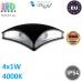 Настенный светодиодный светильник, master LED, 4х1W, 4000K, IP54, накладной, Nord, алюминий +  РС, квадратный, серый. ЕВРОПА!
