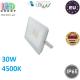 Светодиодный LED прожектор, master LED, 30W, 36xSMD 2835, 4500K, IP65, накладной, алюминий + закалённое стекло, белый, VEGA. Польша!