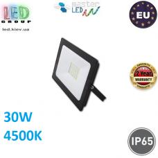 Светодиодный LED прожектор, master LED, 30W, 36xSMD 2835, 4500K, IP65, накладной, алюминий + закалённое стекло, чёрный, VEGA. Польша!
