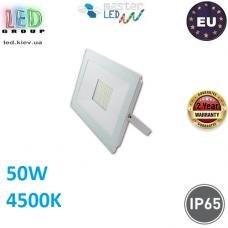 Светодиодный LED прожектор, master LED, 50W, 60xSMD 2835, 4500K, IP65, накладной, алюминий + закалённое стекло, белый, VEGA. Польша!