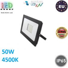 Светодиодный LED прожектор, master LED, 50W, 60xSMD 2835, 4500K, IP65, накладной, алюминий + закалённое стекло, чёрный, VEGA. Польша!