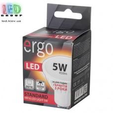 LED лампа ERGO Standard, MR16, GU10, 5W, 220V, 3000K - тёплый белый