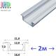 Профиль алюминиевый врезной АНОДИРОВАННЫЙ для светодиодной ленты, ЛПВ-7, 16.0х7.0мм (2 метра)