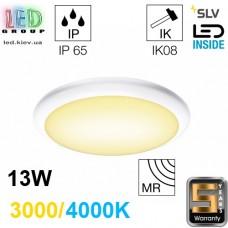 Настенный/потолочный LED светильник SLV 13W, 3000/4000K, датчик движения, RUBA 10 CW SENSOR, белый. Германия! Гарантия 5 лет!!!