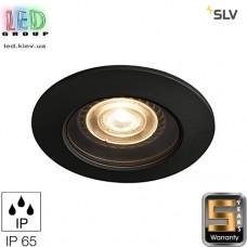 Светильник/корпус SLV, потолочный, алюминий/стекло, IP65, круглый, чёрный, 1xGU10, VARU QPAR51 DL. Германия!