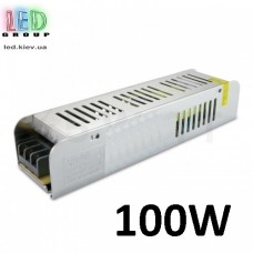 Блок питания 12V, 100W, 8.3А, металлический корпус, IP20, не герметичный, для внутреннего применения