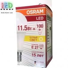 Светодиодная лампа OSRAM, 11.5W, E27, A60, 2700K - тёплое свечение