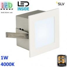 Настенный/потолочный LED светильник SLV, 1W, 4000K, FRAME BASIC, квадрат, белый матовый. Германия!