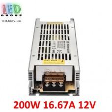 Блок питания 12V, 200W, 16.67А, металлический корпус, IP20, не герметичный, для внутреннего применения. Long