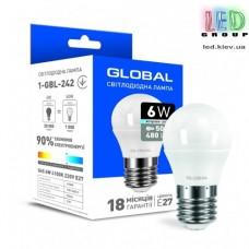 Светодиодная лампа GLOBAL, 6W, G45 F,  E27, 220V, 4100К - яркий свет, AP (1-GBL-242)