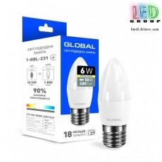 LED лампа GLOBAL C37 CL-F 6W мягкий свет 220V E27 AP (1-GBL-231)