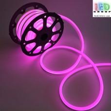 Светодиодный гибкий неон 220V, LED NEON - 17x9мм, цвет свечения - розовый