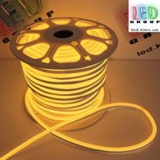 Светодиодный гибкий неон 220V, LED NEON - 17x9мм, цвет свечения - жёлтый