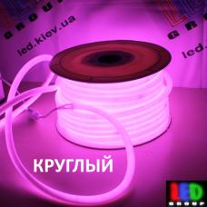 Светодиодный неон круглый 360° гибкий  220V, LED NEON - 14мм, цвет свечения - розовый