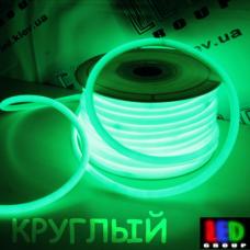 Светодиодный неон круглый 360° гибкий  220V, LED NEON - 14мм, цвет свечения - зелёный