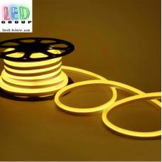 Светодиодный гибкий неон 220V, LED NEON - 15x8мм, цвет свечения - жёлтый