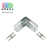 Коннектор угловой вертикальный для соединения отрезков LED NEON 15х8мм, 17х9мм, 220V и 12V.
