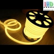 Светодиодный неон круглый 360° гибкий  220V, LED NEON - 14мм, цвет свечения - жёлтый