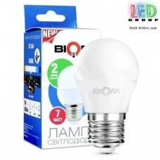 Светодиодная LED лампа Biom, 7W, E27, G45, 4500К – нейтральное свечение. BT-564. Гарантия - 2 года