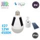 Светодиодная LED лампа на солнечной батарее с кнопкой-выключателем, master LED, 12W, E27, 4500К – нейтральное свечение. Польша!