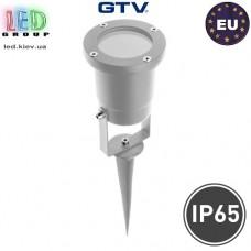 Светильник/корпус GTV, тротуарно-грунтовой, уличный, IP65, однонаправленный, алюминий, серый, 1хGU10, DIEGO. ЕВРОПА!