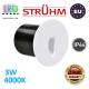 Cветодиодный светильник для подсветки лестниц, Strühm Poland, 3W, 4000K, IP44, RA>80, врезной, RAFI LED C, алюминий, круглый, белый. Польша!