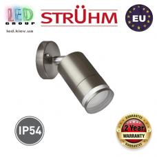 Cветильник/корпус, Strühm Poland, IP54, фасадный, накладной, нержавеющая сталь+стекло, матовый хром, 1хGU10, TARAS SPT. Польша!