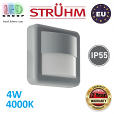 Настенный светодиодный светильник, Strühm Poland, 4W, 4000K, пластик, накладной, квадратный, серый, IP55, RA>80, 260Lm, FIDO LED. Польша!