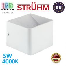 Настенный светодиодный светильник, Strühm Poland, 5W, 4000K, накладной, алюминий, квадратный, белый, RA>80, RACA LED. ЕВРОПА!