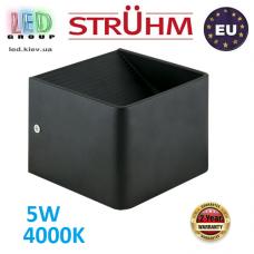 Настенный светодиодный светильник, Strühm Poland, 5W, 4000K, накладной, алюминий, квадратный, чёрный, RA≥80, RACA LED. ЕВРОПА