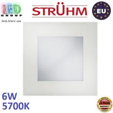 Потолочный светодиодный светильник, Strühm Poland, 6W, 5700K, встроенный, алюминий + стекло, квадратный, белый, RA≥80, MILTON LED D. ЕВРОПА