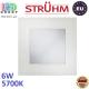 Потолочный светодиодный светильник, Strühm Poland, 6W, 5700K, встроенный, алюминий + стекло, квадратный, белый, RA>80, MILTON LED D. ЕВРОПА!