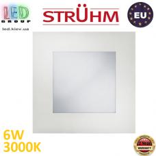 Потолочный светодиодный светильник, Strühm Poland, 6W, 3000K, встроенный, алюминий + стекло, квадратный, белый, RA≥80, MILTON LED D. ЕВРОПА