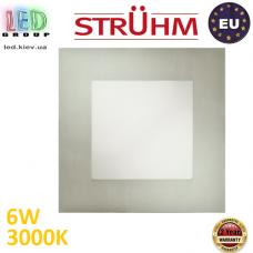 Потолочный светодиодный светильник, Strühm Poland, 6W, 3000K, встроенный, алюминий + стекло, матовый хром, RA>80, MILTON LED D. Польша!