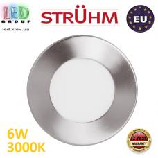 Потолочный светодиодный светильник, Strühm Poland, 6W, 3000K, встроенный, алюминий + стекло, матовый хром, RA>80, MILTON LED C. Польша!