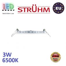 Потолочный светодиодный светильник, Strühm Poland, 3W, 6500K, встроенный, алюминий + пластмасса, белый, RA>80, SLIM LED C. Польша!