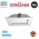 Потолочный светодиодный светильник, Strühm Poland, 8W, 4000K, врезной, алюминиевый, квадратный, белый, RA≥80, CINDER LED D. ЕВРОПА
