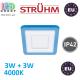 Потолочный светодиодный светильник, Strühm Poland, 3W + 3W, 4000K, врезной, алюминий + акриловое стекло, квадратный, белый, RA>80, ALINA LED D. ЕВРОПА!