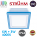Потолочный светодиодный светильник, Strühm Poland, 6W + 3W, 4000K, накладной, алюминий + акриловое стекло, квадратный, белый, RA>80, ALDEN LED D. ЕВРОПА!