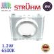 Светильник/корпус, Strühm Poland, потолочный, торцевая подсветка - 1.2W, 6500K, встраиваемый, алюминий + стекло, квадратный, прозрачный/хром. STAN LED D. ЕВРОПА