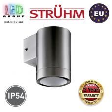 Cветильник/корпус, Strühm Poland, IP54, фасадный, накладной, нержавеющая сталь + стекло, круглый, матовый хром, 1хGU10, ASTER. ЕВРОПА