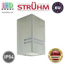 Cветильник/корпус, Strühm Poland, IP54, фасадный, накладной, нержавеющая сталь + стекло, прямоугольный, матовый хром, 1хGU10, KELER. ЕВРОПА!