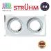 Потолочный светильник/корпус, Strühm Poland, встроенный, алюминий + стекло, прямоугольный, прозрачный/хром, 2хGU10, STAN L CHROME. ЕВРОПА