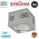 Потолочный светодиодный светильник, Strühm Poland, 7W, 4000K, накладной, алюминиевый, квадратный, серебряный, RA≥80, GUSTI LED. ЕВРОПА