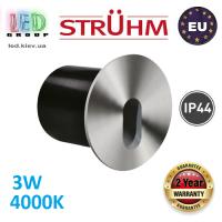 Cветодиодный светильник для подсветки лестниц, Strühm Poland, 3W, 4000K, алюминий, врезной, круглый, матовый хром, IP44, RA>80, RAFI LED C. ЕВРОПА!