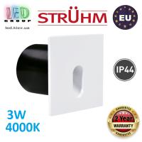 Cветодиодный светильник для подсветки лестниц, Strühm Poland, 3W, 4000K, алюминий, врезной, квадратный, белый, IP44, RA>80, RAFI LED D. ЕВРОПА!