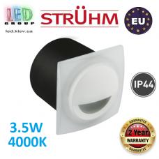 Cветодиодный светильник для подсветки лестниц, Strühm Poland, 3.5W, 4000K, алюминий + стекло, врезной, квадратный, белый, IP44, RA>80, KAMI LED D. Польша!
